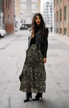 Leopard dress - street style - leather jacket - fall fashion