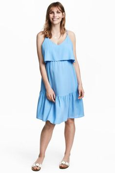 Short V-neck dress in woven fabric in a double layer at the top with a wide flounce. Narrow double shoulder straps, racer back, elasticated seam under the b Maternity Nursing, Maternity Session, H&m Online, V Neck Dress, Woven Fabric, Fashion Online, What To Wear, Light Blue, Kids Fashion