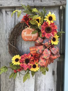"Fall Sunflowers ""Thankful"" sign on Grapevine Wreath for Front Door, Autumn Grapevine Wreath for Door, wreath for front door, wreath, by DesignsbyDebbyOhio on Etsy"