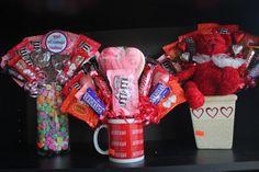 DIY Valentine's Day Candy Bouquet by Kim's Kandy Kreations: Candy Boquets, Candy Bouquet Diy, Diy Bouquet, Bouquets, Diy Valentine's Day Decorations, Valentines Day Decorations, Valentine Day Crafts, Valentines Recipes, Valentine Treats