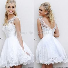 Find More Graduation Dresses Information about 2014 High Quality Elegant New Fashion Pearls Scoop Prom Party Gown vestidos de fiesta Sex White Lace Short Graduation Dresses,High Quality Graduation Dresses from Top dresses fashions store on Aliexpress.com
