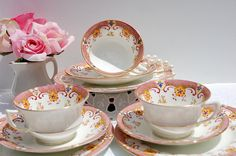 Antique 1920s Aynsley Tea cup and Saucer Trio Fine bone China