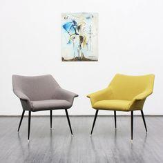 Rare 1950s armchair, grey, reupholstered (no. 6297) Karlsruhe Velvet-Point