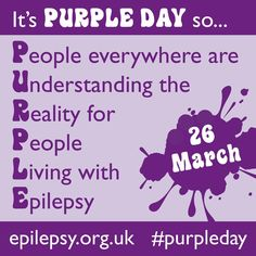 Today is Epilepsy awareness day! Did you know that 1 in 240 children under the age of 16 have epilepsy? Wear purple today and show your support for our epilepsy warriors! Epilepsy Quotes, Epilepsy Facts, Epilepsy Seizure, Epilepsy Tattoo, Epilepsy Awareness Day, Global Awareness, Awareness Tattoo, Epilepsy Action, Health