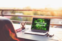 MacBook Display Mock-up#109 Graphics **A B O U T**Easy to use mock-up to present your design. Cropping, changing perspectives and laye by vraiana