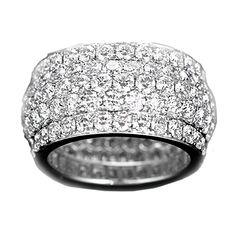 Stunning White Gold Pave Diamond Wide Band Ring