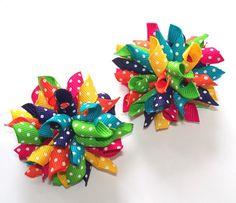 Tropical Rainbow Dots  Mini Korker Hair Bows by AriasBowtique, $4.95