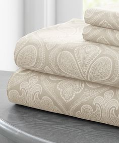 Another great find on #zulily! Taupe Paisley Deep-Pocket Sheet Set by Colonial Home Textiles #zulilyfinds