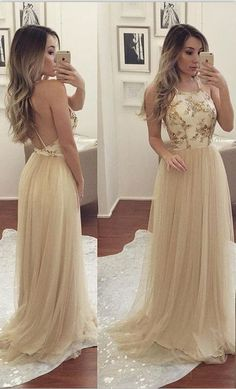Simple Champagne Tulle Prom Dresses,Long Prom Dresses,Evening #prom #promdress #dress #eveningdress #evening #fashion #love #shopping #art #dress #women #mermaid #SEXY #SexyGirl #PromDresses
