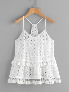 White Tassel Trim Eyelet Embroidered Racerback Cami Top Boho Spaghetti Strap New Casual Summer Outfits, Fall Outfits, Cute Outfits, Cami Tops, Look Fashion, Fashion Outfits, Mode Top, Blouse Models, Western Outfits