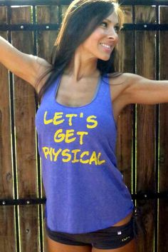 Let's Get Physical. Old-School Gym Tank.  Size SMALL. $30.00, via Etsy.