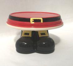 Red and Black - Ceramic - Santa's Legs - Pedestal - Cake Stand -  Code 0030 Pedestal Cake Stand, Cake Stands, Legs, Different Cakes, Dessert Table, Black, Celebration Cakes, Desserts, Tailgate Desserts