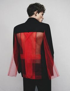 Lace bare back coat. Men couture male editorial high fashion black red suit http://www.keelyvanvliet.com/