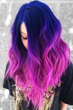 Cute Hair Colors, Pretty Hair Color, Beautiful Hair Color, Hair Color Purple, Hair Dye Colors, Pink Color, Galaxy Hair Color, Blue And Pink Hair, Dark Purple