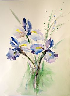 Watercolour paintings – Irises painting Original watercolor painting  – a unique product by Radikacolours on DaWanda