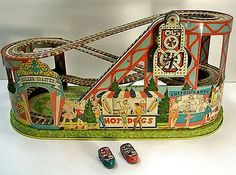 Tin wind-up toy Roller Coaster with red & green Cars