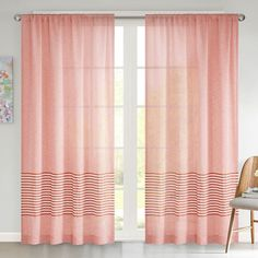 Urban Habitat Rae Dobby Stripe Sheer Curtain, Med Orange