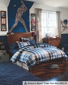 Baseball..love this room idea Benjamin Moore paint Down Pour Blue