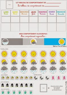Trucs de Maëliane, le blog.: Météo du comportement (Printable inside) Education Positive, Kids Education, Home Management Binder, Family Organizer, Positive Attitude, Happy Kids, Teaching English, Kids And Parenting, Activities For Kids