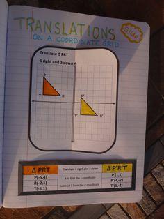 Transformations Notebook Pages - For Love of Learning Math Teacher, Math Classroom, Teaching Math, Teaching Geometry, Line Math, Math Courses, Math Notebooks, Interactive Notebooks, 7th Grade Math