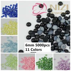 New Nail Art Half Round Pearls 5000pcs 6mm Colors #25-#35 Loose Imitation Crafts Scrapbooking Glue On Resin Beads DIY Decoration