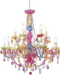 Rainbow Chandelier - Ideas on Foter Glass Chandelier, Chandelier Lighting, Chandelier Ideas, Purple Chandelier, Crystal Chandeliers, Estilo Kitsch, Shabby Chic Living Room, Shop Lighting, Decoration