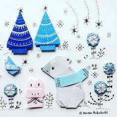 今日は寒い〜。お出かけにはマフラーがいるね〜〜。 It is cold today. Let's put on a muffler to go out.❄️ #origami  #papercraft  #collage  #illustration  #bear #bird #rabbit  #flower #tree #nanatakahashi  #おりがみ #ペーパークラフト #イラスト #コラージュ #くま #うさぎ #コトリ #お花 #ツリー #たかはしなな