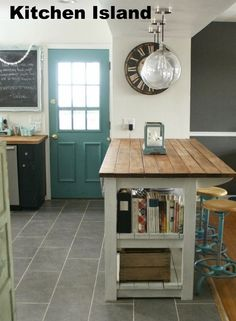 Rustic Kitchen island with Seating. Rustic Kitchen island with Seating. Rustic Farmhouse Bar island Table with 6 Barstools Industrial Kitchen Island, Diy Kitchen Island, Kitchen Redo, New Kitchen, Kitchen Ideas, Kitchen Backsplash, Backsplash Ideas, Kitchen Cabinets, Rustic Industrial