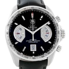 Tag Heuer Grand Carrera Black Leather Strap Automatic Mens Watch CAV511A