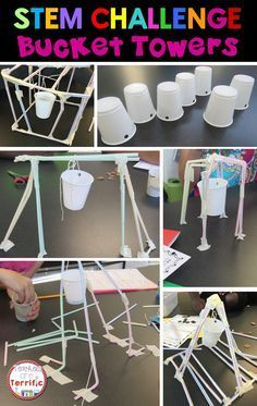 STEM Challenges: This amazing challenge uses one basic material- Straws! Add a few more items and see if your students can build a suspended bucket that will hold weight! Steam Activities, Science Activities, Teambuilding Activities, Science Topics, Children Activities, Educational Activities, Stem Projects, Science Projects, Engineering Projects