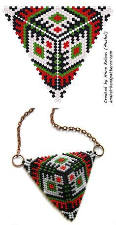 Beaded triangle diagram - mosaic weaving - free peyote triangle pattern