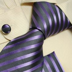 Amazon.com: Purple Striped Neck Ties Grey Stripes Gift for Men Discount Silk Neckties Cufflinks Set H5070 One Size Grey: Clothing
