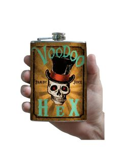 Voodoo Hex Zombie Skull with Top Hat Flask - Stainless Steel Flask - comes in a GIFT BOX - by Trixie & Milo - Awesome Skulls Oldest Whiskey, By Any Means Necessary, Antique Bottles, 21st Birthday, Halloween Themes, That Way, Best Gifts, Stainless Steel, Hats