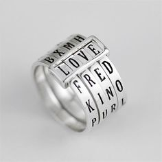 Check out this item in my Etsy shop https://www.etsy.com/listing/597512852/words-ring-letters-ring-sterling-silver