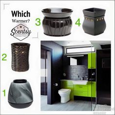 I love this #bathroom! Which Scentsy Warmer would you place in here? #HomeStaging #BathroomStaging #PaintItBlack