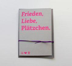 """Weihnachtskarte """"Frieden, Liebe, Plätzchen"""" // Christmas card by ein-stueck-vom-glueck via dawanda.com"""