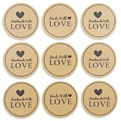 Sticker HANDMADE WITH LOVE slogan with hearts kraft paper graphics round 38 mm scrapbooking decoration gifts hand made by me set 48 pcs Love Stickers, Thank You Stickers, Round Stickers, Gift Tags Printable, Printable Stickers, Love Slogan, Heart Graphics, Handmade Gift Tags, Card Tags