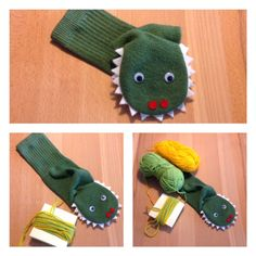 The story of the little green monster - or - I was a tennis sock Sock Puppets, Hand Puppets, Hand Crafts For Kids, Art For Kids, Baby Sewing Tutorials, Puppet Crafts, Scout Activities, Green Monsters, Baby Toys
