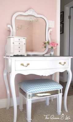 Vintage vanity in our little girl s bedroom  A little DIY project that adds  so muchLittle girl play vanity   BUILD IT YOURSELF IDEAS   Pinterest  . Diy Vanity For Little Girl. Home Design Ideas