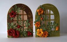 I have made more Trellis Cards :)  This time I used sizzix 657568 die to create door shape cards.  I call them The Secret Garden Cards ;)  I hand made