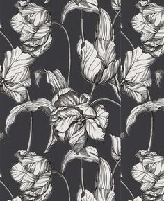This stunning large scale floral tulip has a hand drawn linear finish with an on trend coral and soft grey colour combination, great as a feature wall combined with one of the coordinating semi plain
