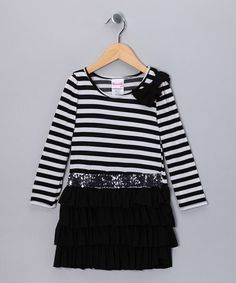 Take a look at this Black Stripe Sequin Dress - Toddler & Girls by Nannette Dresses on #zulily today!