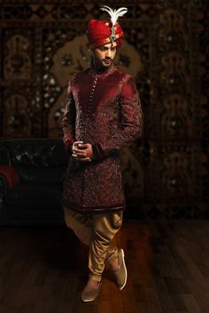 Buy Samyakk Maroon Silk Embroidered Indo western Sherwani online in India at best price.Buy Maroon raw silk charming indo western with full sleeves Online Indian Wedding Poses, Wedding Dresses Men Indian, Indian Wedding Couple Photography, Punjabi Wedding, Indian Weddings, Couple Wedding Dress, Wedding Outfits For Groom, Groom Wedding Dress, Sherwani For Men Wedding
