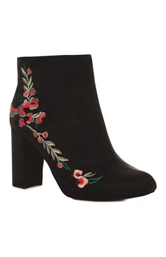 Floral Embroidered Black Boot