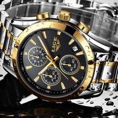 ad74ee068 LIGE Chronograph Esporte Militar Relógios Homens Marca de Luxo Relógio de  Quartzo Homem de Todos Os Negócios de aço Ouro relógio de Pulso Relogio  masculino ...