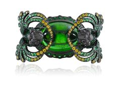 Lydia Courteille, Reine de Saba collection, ring, brown diamond, yellow sapphire,  tsavorite and tourmaline cabochon