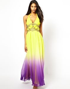 Forever Unique Embellished Maxi Dress in Dip Dye - oh, shoot: PURPLE & YELLOW!