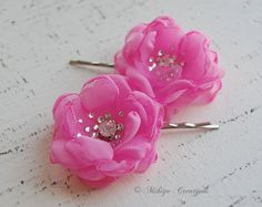 Pink Bridesmaid Gift or  Flower Girl Hair Pins    by MikiyeCreations