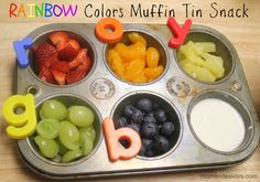 Great back to school snack idea for kids - practice colors and letters with food! :)