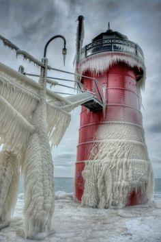 Frozen lighthouse (Michigan lake)